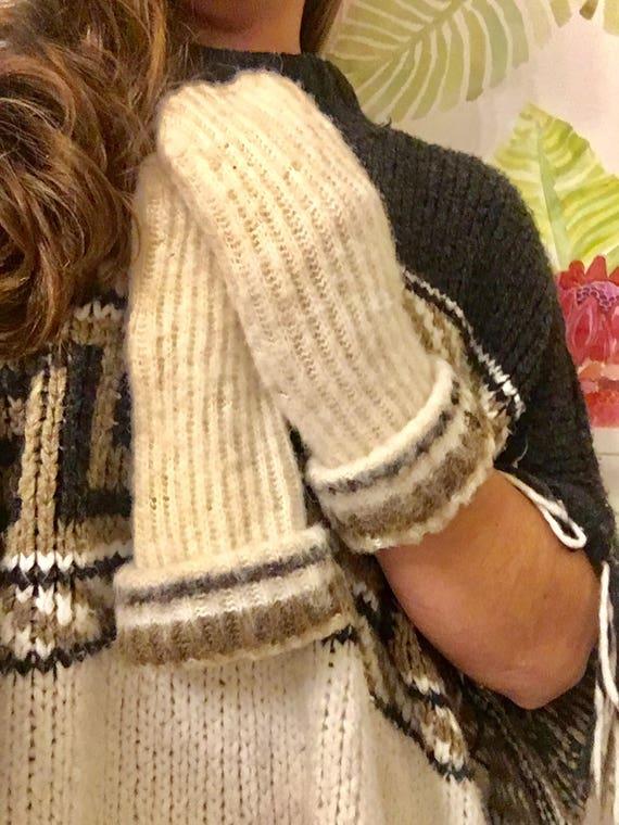 Vintage Hand Knit Wool Mittens - Brown + Cream Handmade Wool Mittens - Winter Wool Mittens