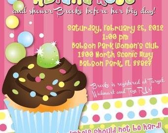 Cupcake Customizable Baby Shower Invitation, digital printable 5x7 file