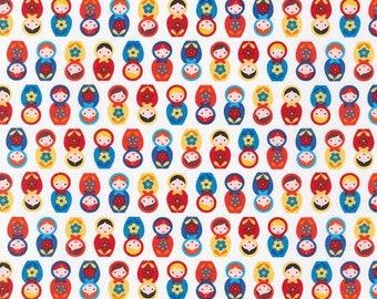Suzy's Minis - Nesting Doll Fabric - White - Sold by the 1/2 Yard