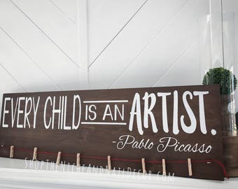 Every Child Is An Artist, Kids Decor, Kids Artwork Display, Brag Board, Home Decor
