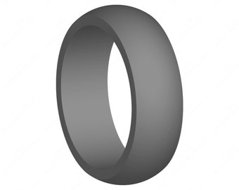 Gift for Him Gray Silicone Wedding Ring Band Best FlexFit Hypoallergenic Rubber Modern Athletic Mans Jewelry - No Cheap Logos or Brand Names