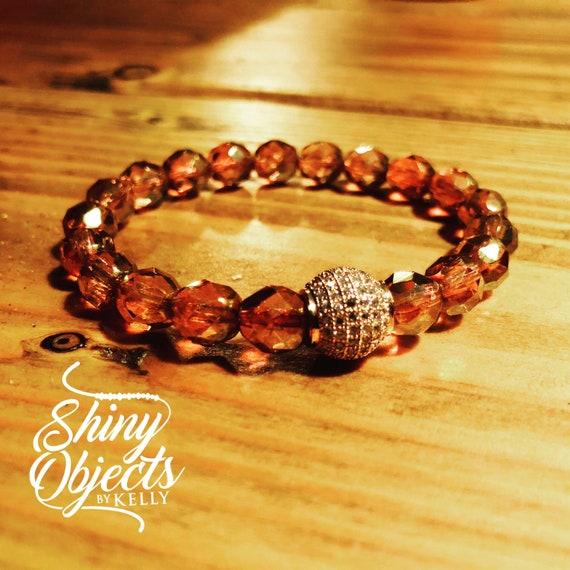 Pink Czech Glass Rose Gold CZ Bracelet