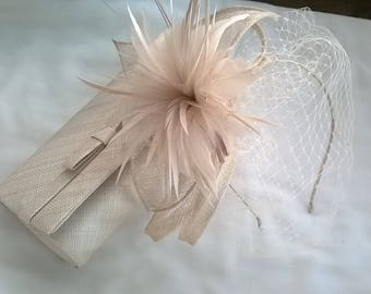 Stunning Champagne Sinamay and Feather Flower Fascinator with bag