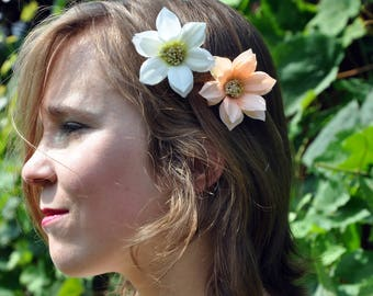 White And Salmon Color Flower Clip
