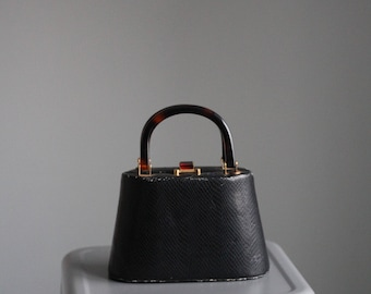 Vintage 60s Faux Crocodile Skin Purse with Tortoise Shell Handle