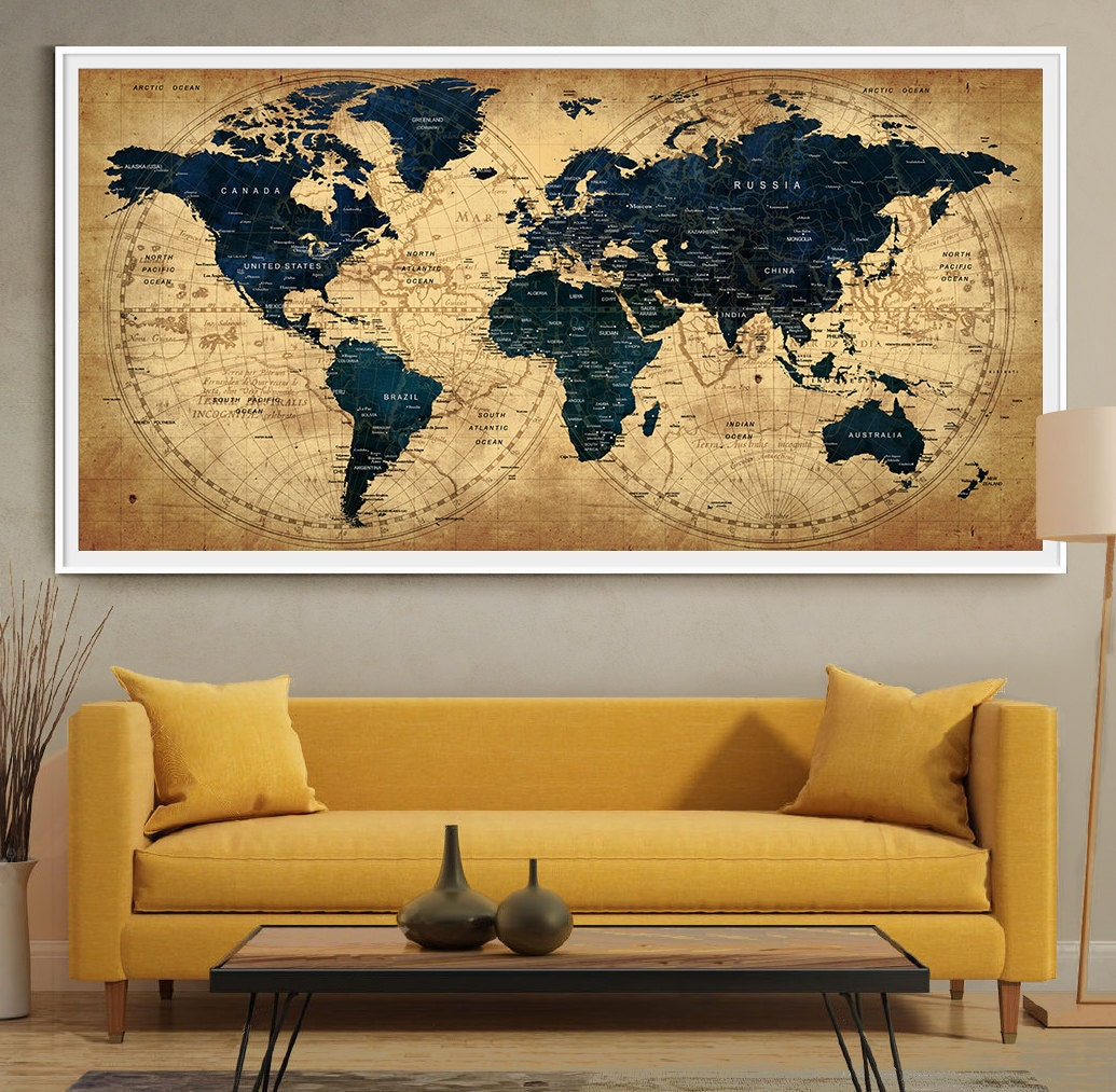 Decorative extra large world map push pin travel wall art zoom gumiabroncs Image collections