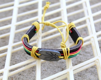 Men's Leather Cuff Red Yellow Green Men's Genuine Cow Leather Cuff Men's Silver Alloy Charm Cuff Father's Day Bracelet Cuff Gift for Him