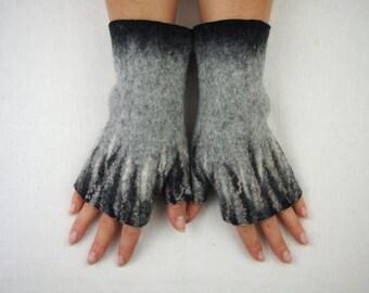 Free shipping Felted Fingerless Gloves Fingerless Mittens Arm warmers Wrist lets Merino Wool Gray Black Beige