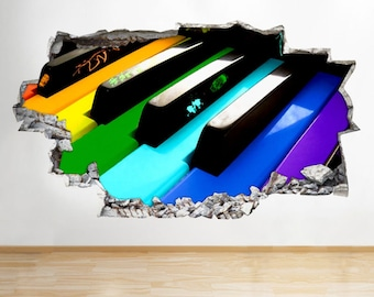 C043 Colourful Piano Keys Music Smashed Wall Decal 3D Art Stickers Vinyl Room[Medium (56x32)]