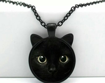 BINX ~ HOCUS POCUS Black Halloween Cat Pendant Necklace