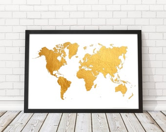 Gold World map, Gold World map wall art, Faux gold world map print, Modern wall art, PRINTABLE art, Travel map,World Map gold, World map art