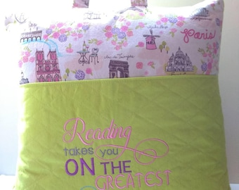 Pocket pillow, reading pillow with Paris print and reading saying embroidery, 16x16.