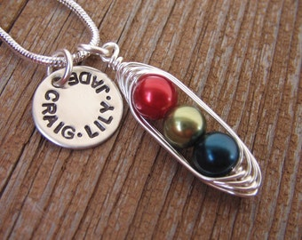Personalized necklace - handstamped necklace - peas in a pod necklace - mothers necklace - silver charm - name necklace - bff necklace