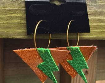 Leather lightning bolt hoop earrings