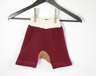 shorties - wool shorts for baby - cloth diaper cover - harem baggy shorts - rebourne soaker shorty shorties - 6 to 18 months