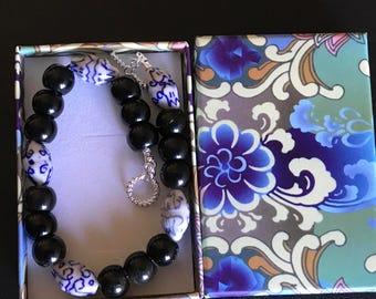 Golden sheen obsidian and porcelain bracelet