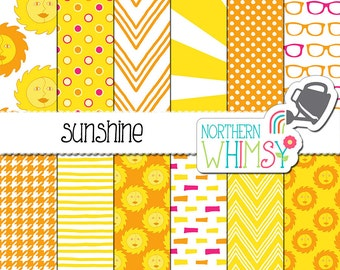 """Summer Digital Paper - """"Sunshine"""" - yellow and orange papers with hand drawn sun patterns - summer weather digital paper - commercial use"""