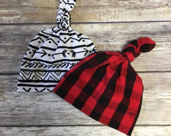 Baby Knot Hat, Jersey Hat, Baby Hat, Knotted Baby Hat, Newborn Hat, Striped Hat, Plaid Hat, Buffalo Plaid Hat, Jersey Stripe Hat