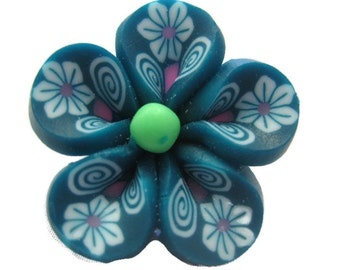 Teal Green Polymer Clay Flowers 20mm Beads Set of 4