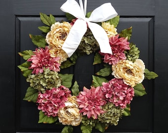 Large Rose Pink, Cream and Green Artificial Mixed Floral Wreath with Peonies, Dahlias and Hydrangeas for Summer Front Door Decor; 24 Inch