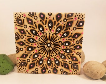 Original Wood Burned Art Pink Mandala Wall Art