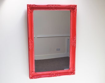 Vibrant Red Shabby Chic Mirror