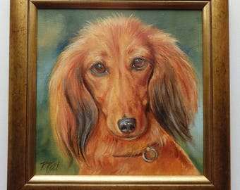DACHSHUND Dog portrait TECKEL  Framed Original Oil PAINTING on canvas Hand painted miniature Pet portrait Animal Art Gift for dog lover