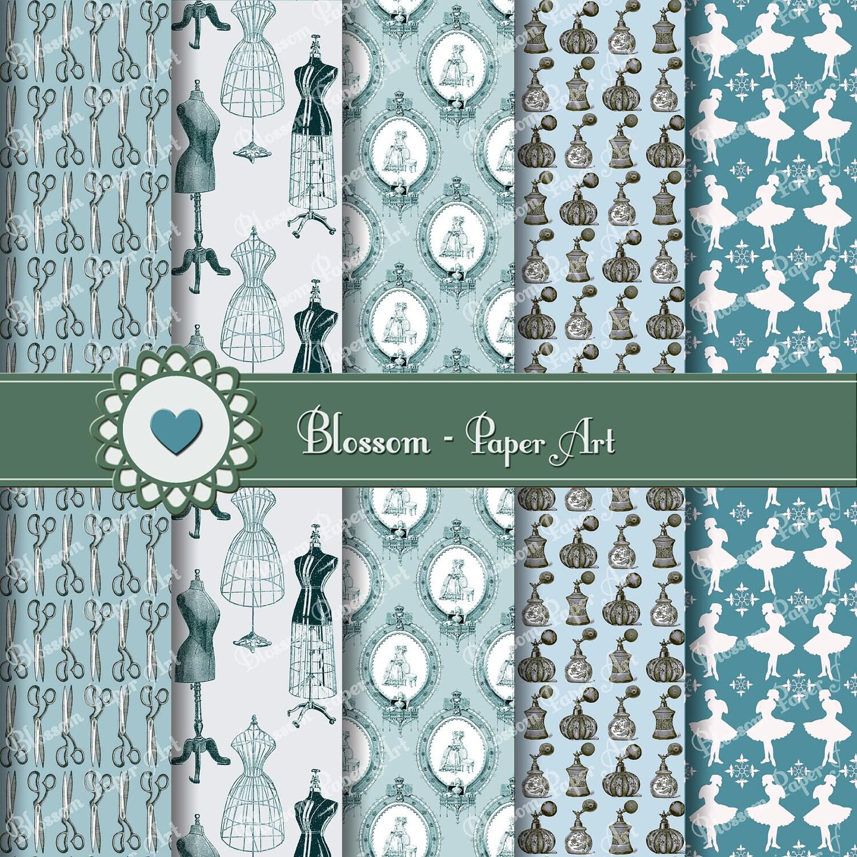 Light Blue Digital Paper Sewing Digital Paper Pack Vintage