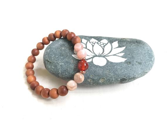 Sunstone and Moonstone Mala Bead Bracelet, Sandalwood and Carnelian Beaded Bracelet, Yoga Jewelry, Match Your Mala Beads,