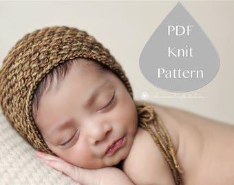 PDF Knit Pattern #0093 The Tamryn Knit Bonnet Newborn Knit Pattern PDF Tutorial Intermediate Instruction Newborn Photography Prop Dk Yarn
