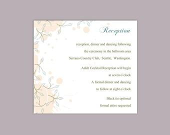 DIY Wedding Details Card Template Printable Wedding Details Card Editable Pink Peach Details Card Blue Details Card Leaf Enclosure Cards