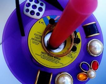ELO RARE Purple Vinyl Record & Candle Holder Art Votive + Taper Classic Rock Vintage 1978 Sweet Talkin' Woman Black Silver Pier 1 Metal Base