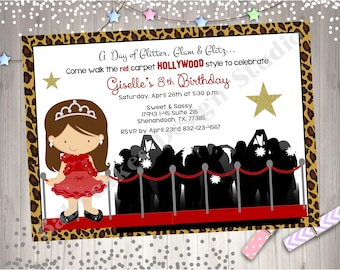 Hollywood Diva Birthday Party Invitation Invite Red Carpet Dress Up Party Hollywood Glam Glamour Party - CHOOSE YOUR GIRL