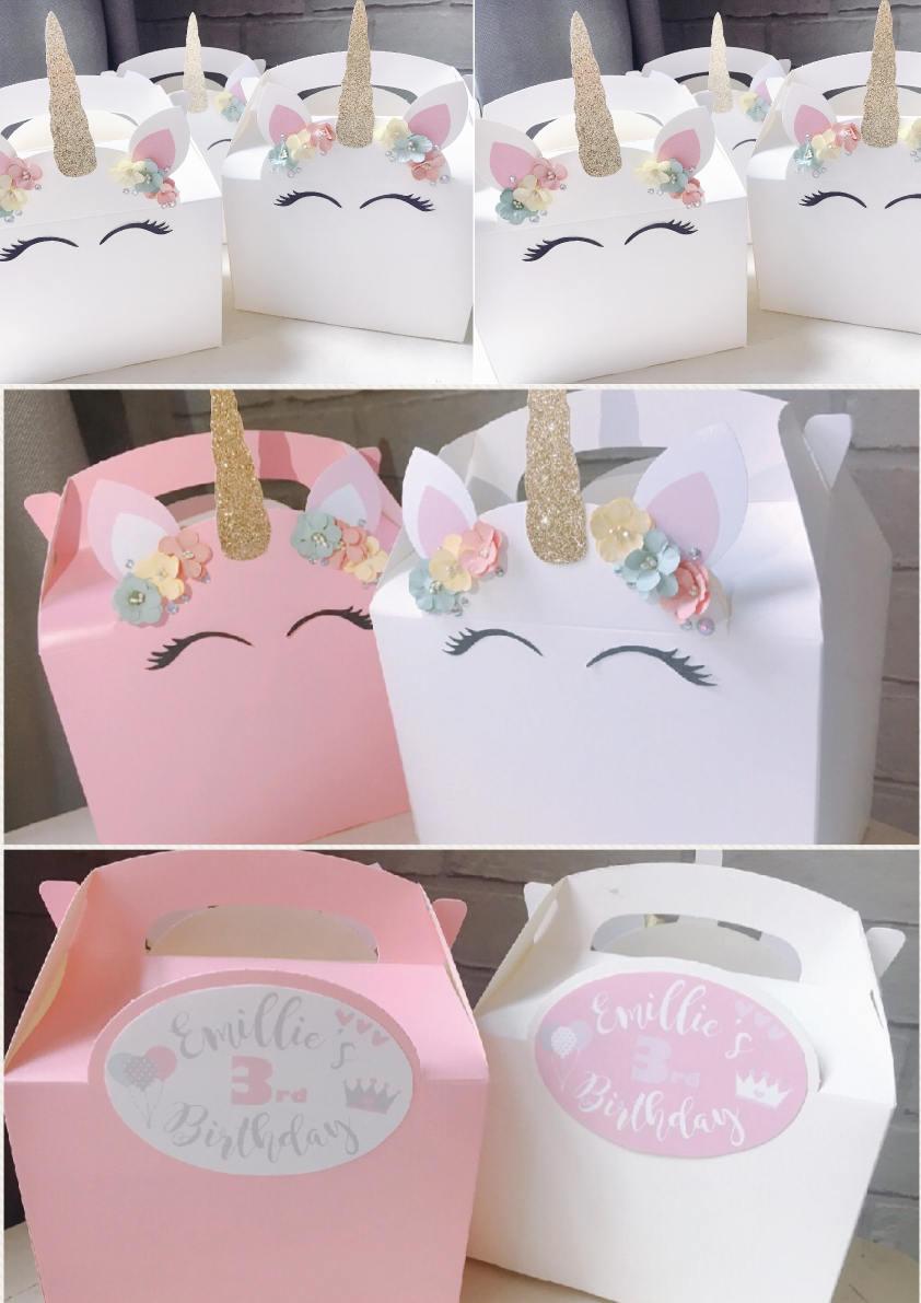 Unicorn girl\'s birthday party wedding favour boxes