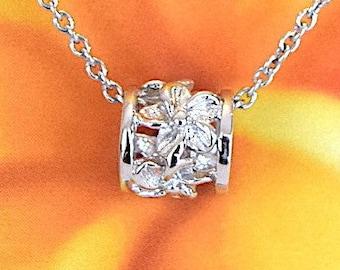 Plumeria Bead Necklace, Sterling Silver Plumeria Bead Pendant Necklace, Hawaiian Jewelry, N2150