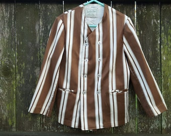 Boys Jacket, Jack Tar Togs,  Striped Jacket, 50s Jacket, Vintage Jacket, Brown Jacket, Galey & Lord Fabric, 50s Costume, Stage Costume