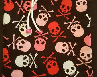 Gift/Dice Bag Featuring Red, Pink and White Skull and Crossbones