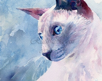 BLUE EYED CAT mounted watercolour print by Ruth Nolan