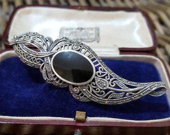 Vintage Sterling Silver Brooch, Marcasite and Inset Black Onyx Gemstones