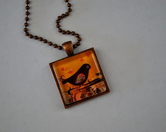 Whimsical Cute Bird captured in a behind a Glass Tile and put in a Copper Pendant with a Copper ball chain