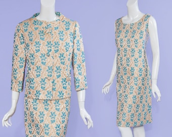 L/XL 60s The Style Shop of Wilmington, NC gold & teal brocade dress + jacket