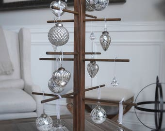 Rustic Stained Christmas Tree Ornament Holder/Display- Hold 16+ Ornaments - 31 Inches Tall