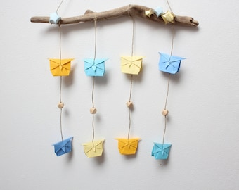 Origami mobile, pastel, owl, owl, wooden bead, driftwood, gifts, decoration.