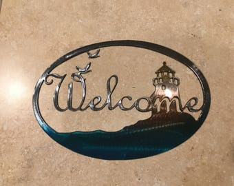 Plasma Cut Kandy painted Lighthouse cwelcome sign Metal Mancave Garage Wall Art Home Decor