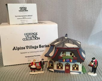Dept 56 Heritage Village  - Alpine  Collection, Bakery & Chocolate Shop, Buying Bakers Bread