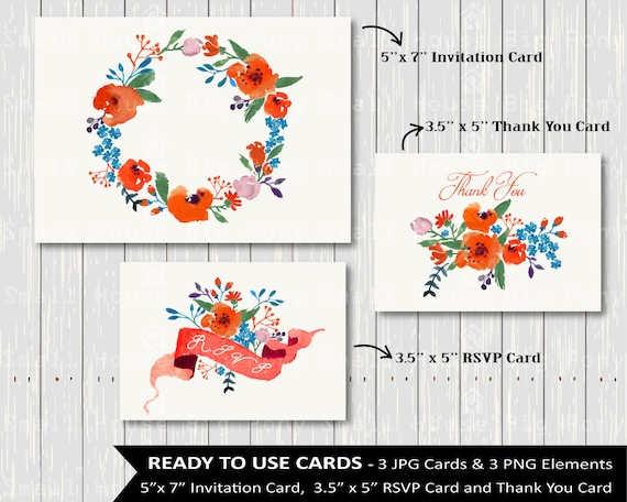 Watercolor Flowers - Hand Painted Watercolor Flower Cards  wedding flowers clip art, Watercolour, wedding flowers, rustic flowers