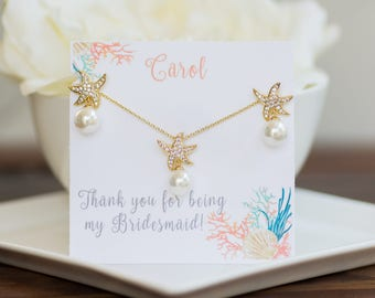Beach Wedding | Starfish Earrings | Starfish Necklace | Bridesmaid Sets | Bridesmaid Gifts | Bridesmaid Gifts | Bridesmaid Jewelry | Wedding