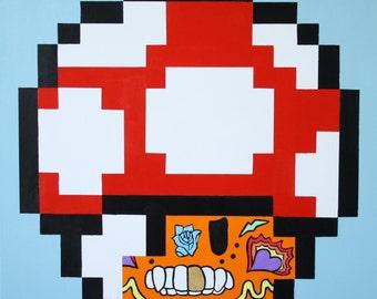 "Hand-Painted Original Super Mario ""MushMuertos"" Pop-Art, Street-Art Style Acrylic Painting Inspired by Calaveras, Pixels & Nintendo 24""x24"""