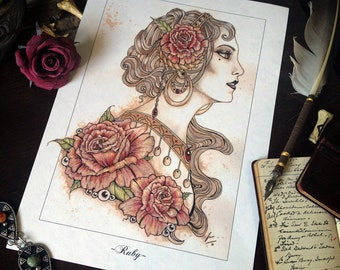 """A4 """"Ruby"""" Coffee Illustration Drawing Print"""