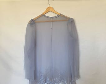 Vintage Periwinkle Ingido Blue Beaded Sheer Blouse